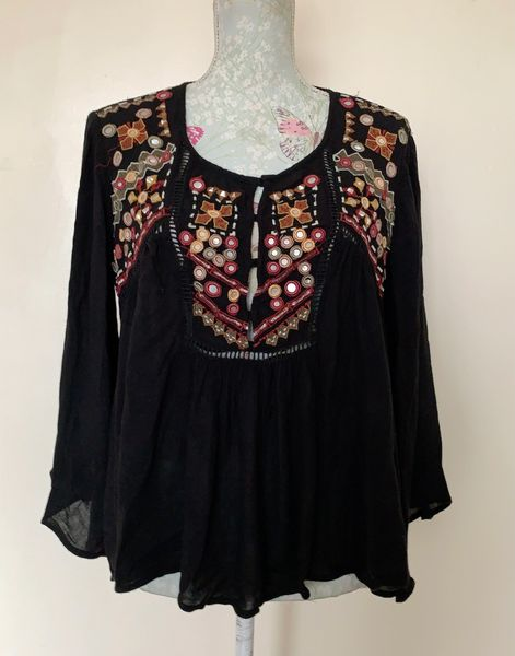 MNG Mango Black Viscose Mirror Embroidered Button Front Cover Up Tunic Top Size UK 8