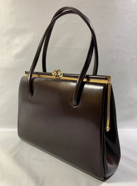 Vintage 1960s Brown Faux Leather Classic Handbag Suede Lining & Elbief Frame.