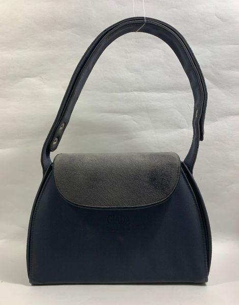 GIADA Well Loved Grey Fabric & Suede Shoulder Bag With Adjustable Shoulder Strap.