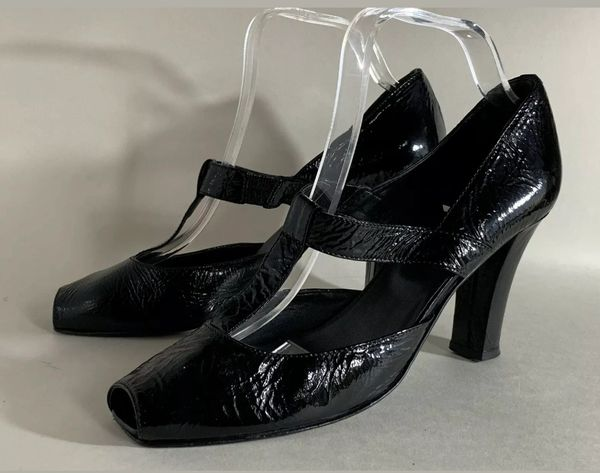 Edina Ronay Black Patent T Bar Peep Toe High Heel Shoe Size UK 7 EU 40.