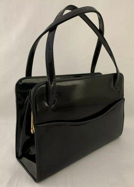 Black Patent 1960s Vintage Handbag Side Pockets Fabric Lining & Elbief Frame