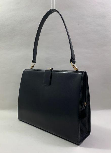 Waldybag Black Calf Leather 1960s Vintage Handbag Olive Satin Lining Lift Tab