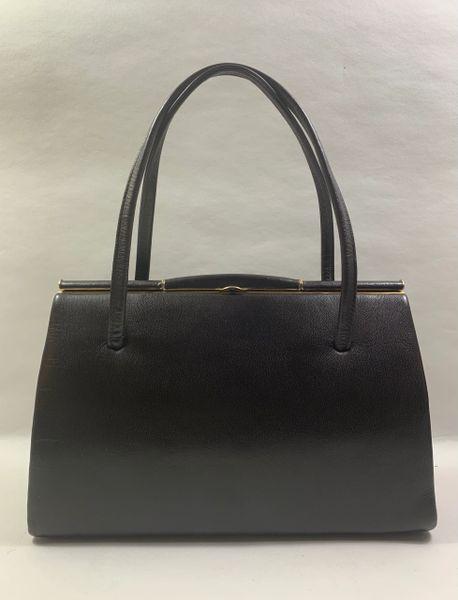 Vintage 1950s Classic Brown Leather Handbag Light Buff Suede Lining Elbief Frame