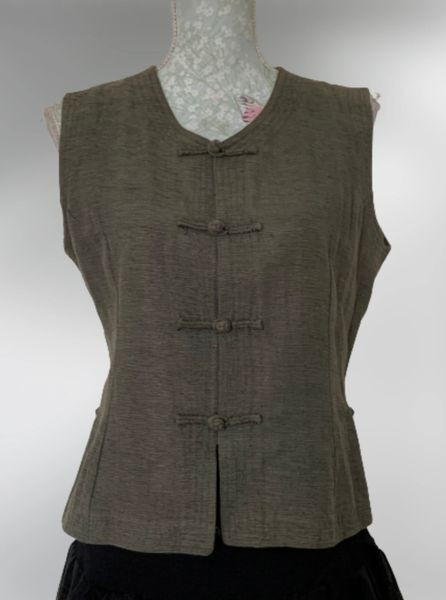 Flying Tree Grey 100% Silk Chinese Style Button Front Waistcoat UK Size 12.