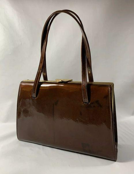 1950s Bronze Patent Leather Vintage Handbag Suede Lining & Elbief Frame.