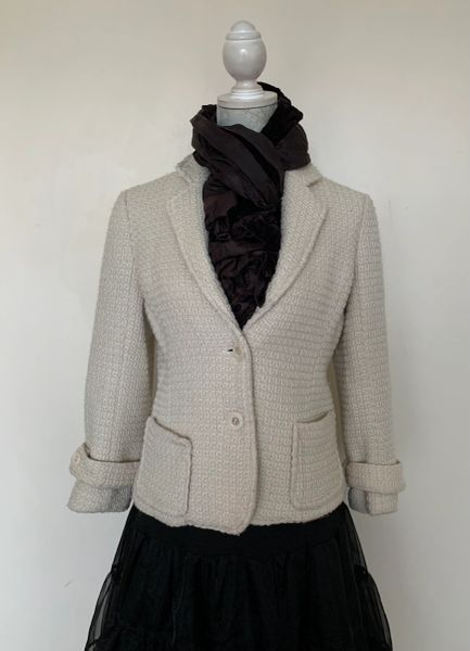Fenn Wright Manson Well Loved Ivory Wool Mix Weave Fully Lined Jacket Size UK 14
