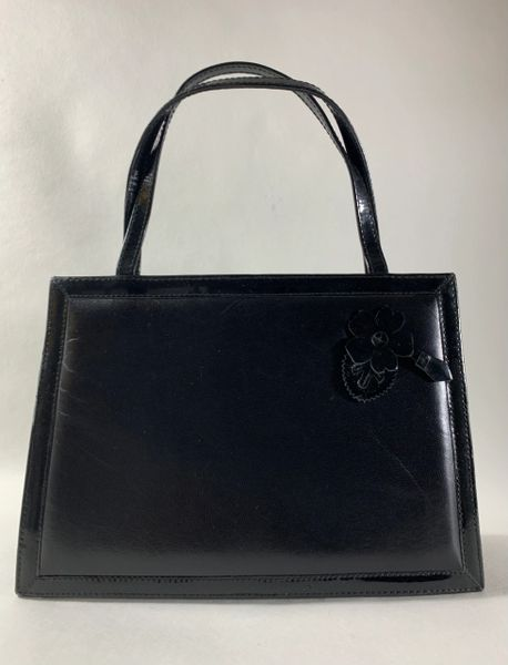 Carvela Black Vintage 1980s Leather Small Evening Handbag With Magnetic Snap & Flower Detail To Front.