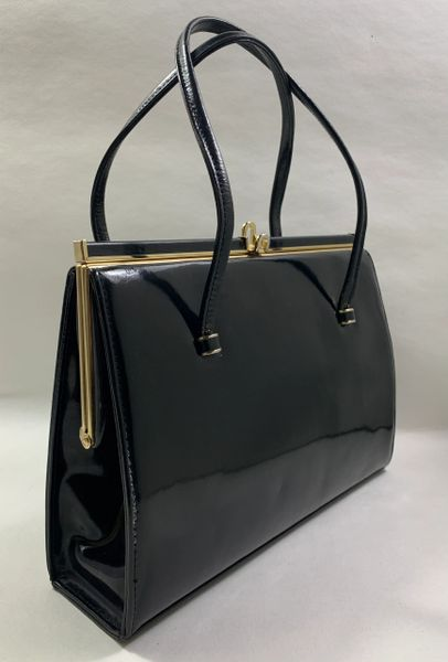 Black Patent Leather Vintage 1950s Handbag With Buff Suede Lining & Elbief Frame