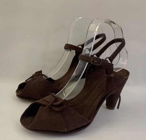"""Buttero Brown Soft Suede Sandals 3.5"""" Semi Wedge Heel Leather Sole Size UK 3 EU 36"""