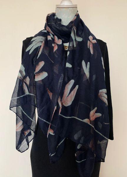 "Vintage Inspired Dark Blue Dragon Fly Patterned 73"" Neck Scarf Shawl Wrap"