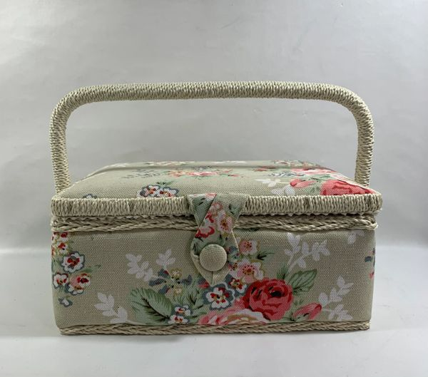 Vintage Style Sewing Box In Grey Floral Fabric With Fitted Inside Pocket & Pin Cushion .