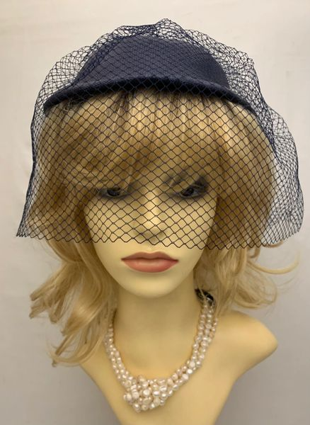 Blue Vintage 1950s Sinamay Percher Pillbox Capulet Hat With Wide Net Tassel Top
