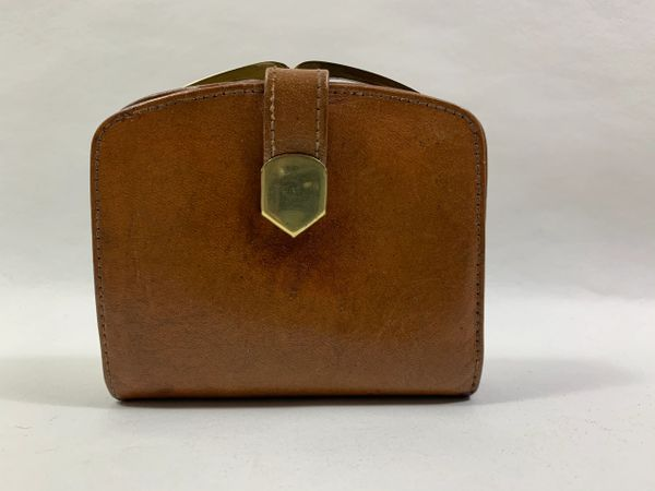 Unbranded Well Loved Tan Leather 1950s Vintage Coin Purse Mini Wallet Tan Leather Lining.