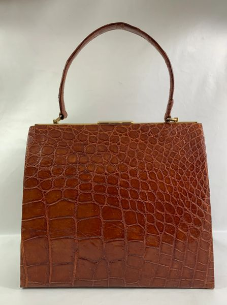 Chestnut Brown Large Crocodile Skin 1950s Vintage Handbag With Ivory Leather Lining.