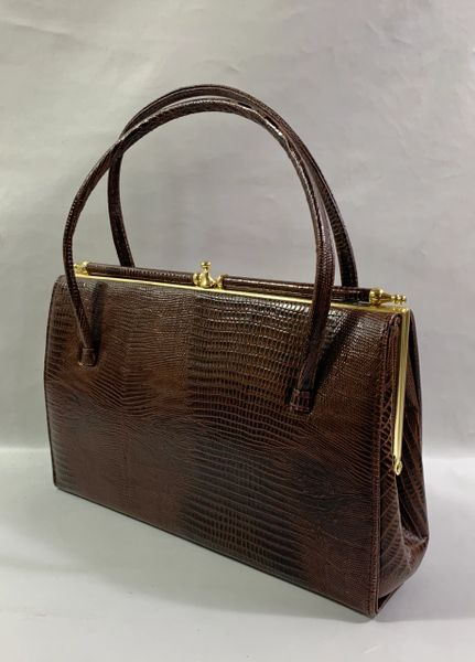 Chestnut Brown Faux Lizard 1950s Vintage Handbag Buff Suede Leather Lining With Gold Toned Elbief Fram