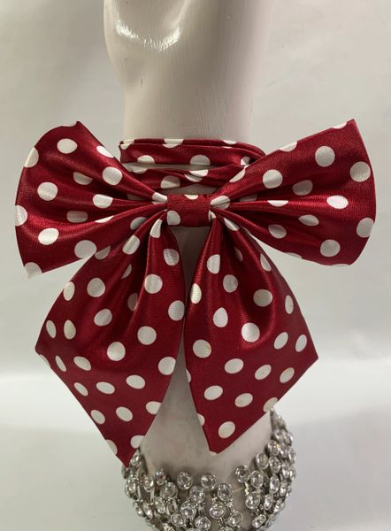 Vintage 1970s Inspired Red & White Spotted Ladies Bow Tie Size 14-18 Inches
