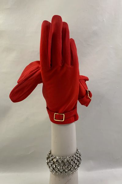 Bright Red Nylon 1960s Vintage Stretch Gloves With Strap & Gold Buckle Detail Size 7.