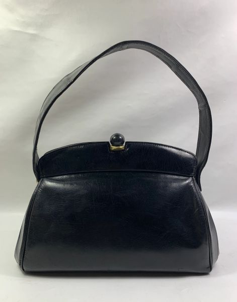 Vintage 1940s Black Small Calf Leather Handbag With Soft Black Leather Lining.