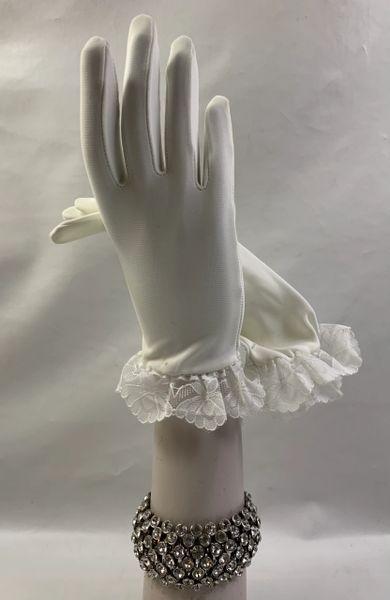 Vintage 1960s Nylon White Lace Edge Dress Gloves Wedding Church Formal Size 7
