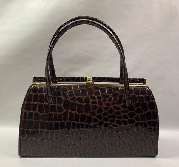 Well Loved Vintage Dark Brown Moc Croc Synthetic 1950s Handbag Brown Fabric Lining