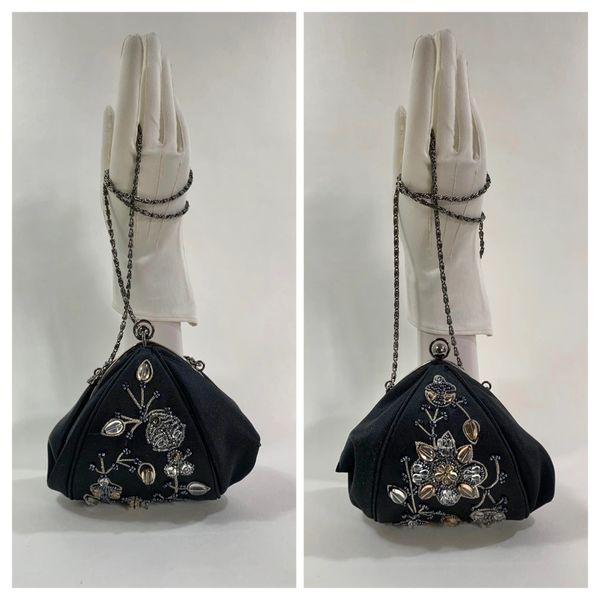 T2 Black Fabric Beaded Small Reticule Handbag Shoulder Bag Long Chain Strap