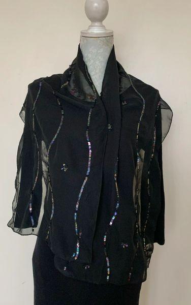 Glamorous Black Sheer Chiffon Nylon Sequin Beaded Decorated Evening Neck Scarf