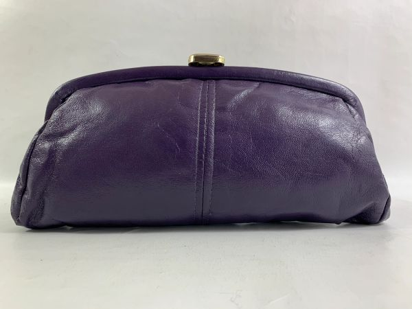 Vintage 1970s Purple Faux Leather Small Clutch Bag Blue Satin Lining Snap Clasp
