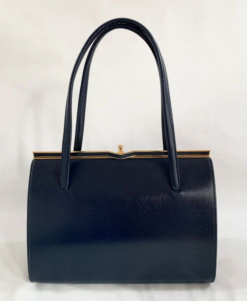 LANCA Blue Faux Leather 1950s Vintage Handbag With Blue Fabric Lining And Elbief Frame.