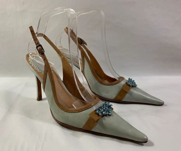 "Faith Solo Baby Blue & Tan Leather Slingback Pointed 4"" Stiletto Heel Shoe Size UK 5 EU 38"
