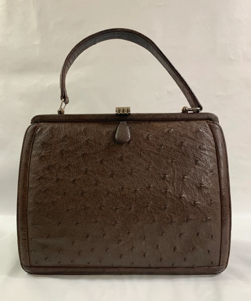 Vintage 1950s Brown Ostrich Skin Handbag With Brown Well Loved Leather Lining.