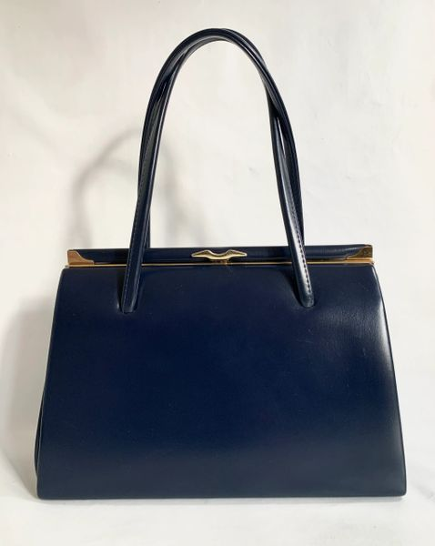Blue Faux Leather 1950s Vintage Handbag With Buff Suede Lining And Elbief Frame
