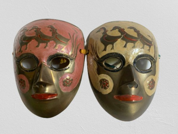 Two Small Brass Lacquered & Painted Decorative Wall Masks Plaques.