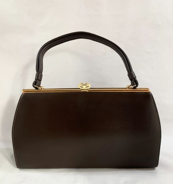 1960s Dark Brown Faux Leather Vintage Handbag With Beige Fabric Lining