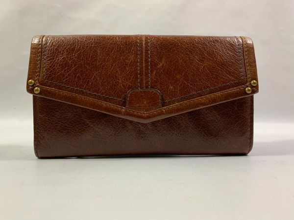 Vintage 1990s Brown Textured Leather Purse Wallet With Brown Rayon Lining