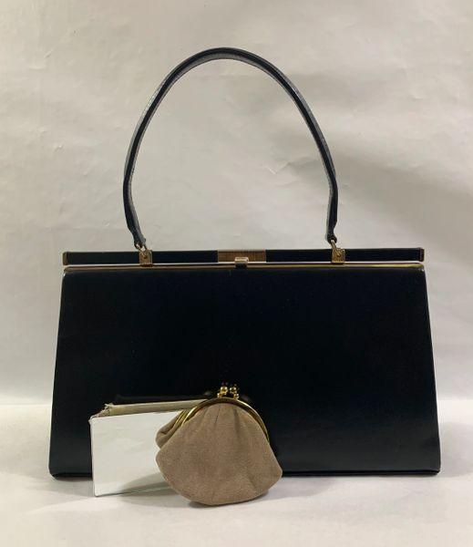 Widegate Vintage 1960s Black Calf Leather Handbag With Suede Lining, Purse & Vanity Mirror