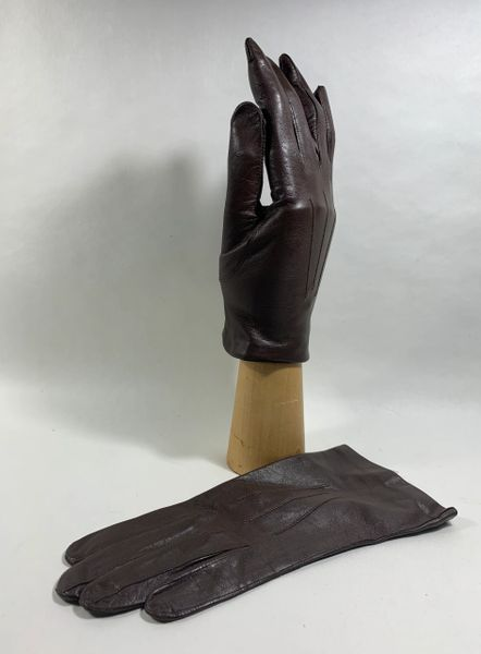 Vintage 1950s Brown Soft Leather Silk Lined Evening Occasional Dress FormalGloves
