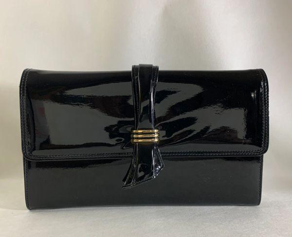 Jane Shilton 1970s Vintage Black Patent Clutch Bag Shoulder Bag Removable Strap