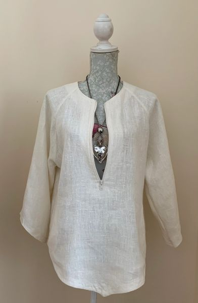 French Connection Ivory Linen Zip Front Cover Up Tunic Top Size Large (12).