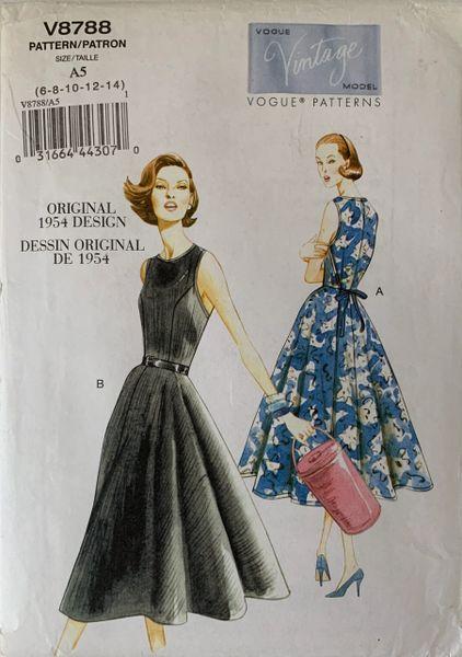 Vogue Vintage Model 1954 Design Sewing Pattern V8788 Dress Uncut Size 6-14