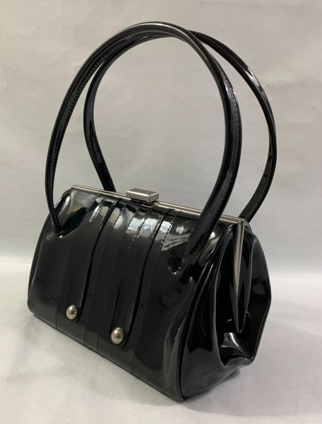 Maclaren Child's Small Black Faux Patent 1960s Barrel Shaped Handbag With Black Fabric Lining & Elbief Frame