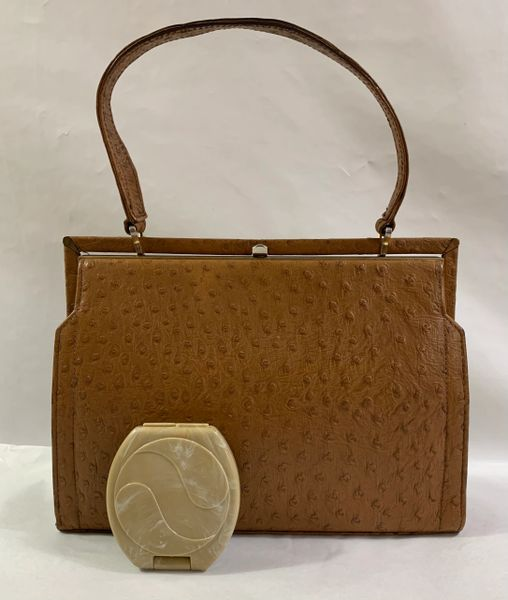 Tan Leather Ostrich Embossed Suede Lined 1950s Vintage Handbag & Celluloid Encased Compact Mirror.