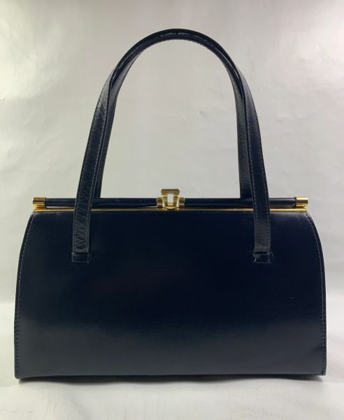 MIDDX Blue Faux Leather Vintage 1950s Handbag With Buff Suede Lining.
