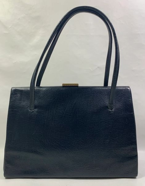 Vintage 1950s Well Loved Blue Faux Leather Handbag Fabric Lining Elbief Frame