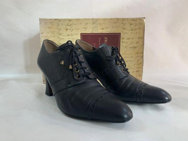 Zigarna & Foxx Steampunk Black Booties 2.75 Lavatory Heel Lace Up With Original Box Size UK EU 38
