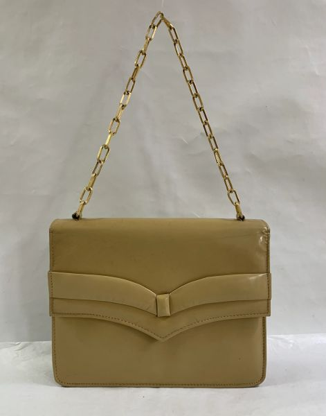 Vintage 1960s Beige Caramel Leather Clutch Handbag Shoulder Bag Gold Box Chain Handle