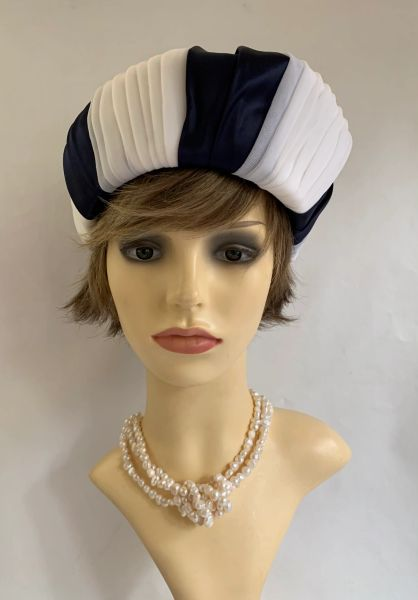 Vintage 1960s Jackie O Style Blue & White Turban Chiffon Fabric Hat With thin bow ribbon to top.