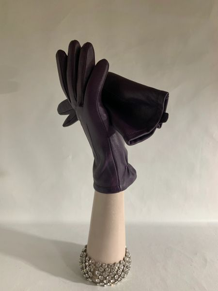 M&S Marks & Spencer Purple Soft Leather Fitted Winter Dress Gloves Lined Size Medium