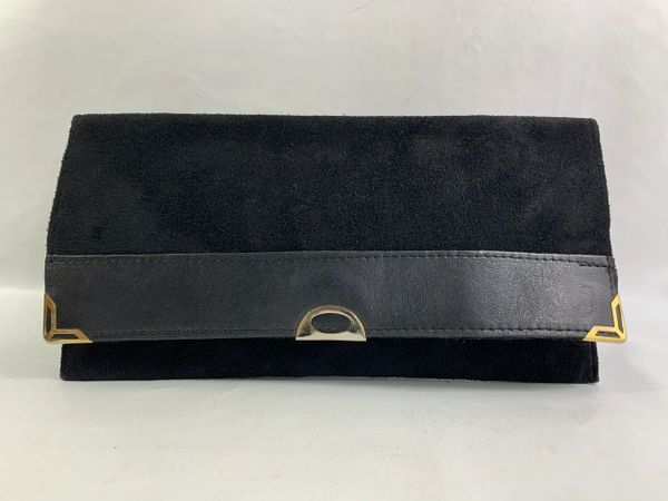Vintage 1980s Black Suede & LeatherVintage Clutch Bag Flap closure with a popper snap closure