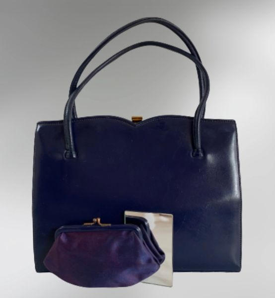 Waldybag Royal Blue Calf Leather 1960s Vintage Handbag With Gold Tone Clasp, Blue Fabric Lining, Purse And Vanity Mirror