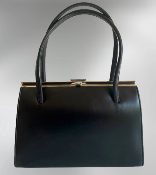 A Weston Hand Made Black Faux Leather Vintage 1960s Handbag Buff Suede Lining Elbief Frame